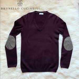 BRUNELLO CUCINELLI Cashmere Elbow Patch Sweater